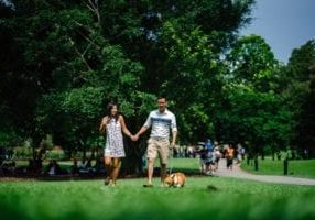 woman-and-man-holding-hands-beside-brown-dog-while-walking-1220755